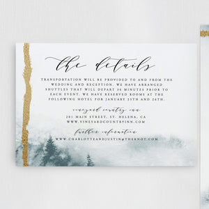 Winter wedding invitation template gold - Pearly Paper