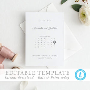 Modern Calendar Save the Date Invite - Pearly Paper