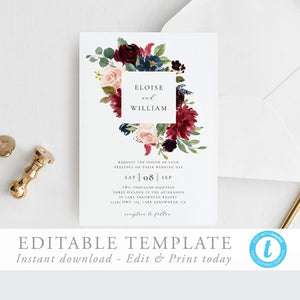 Wedding Invitation Editable Template Printable - Pearly Paper