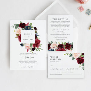 Boho Wedding Invitation Suite Editable - Pearly Paper