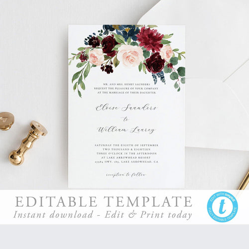 Wedding Invite Download Editable Invitation - Pearly Paper