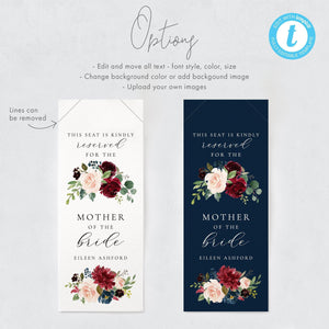 Floral Reserved Seating Tags - Pearly Paper
