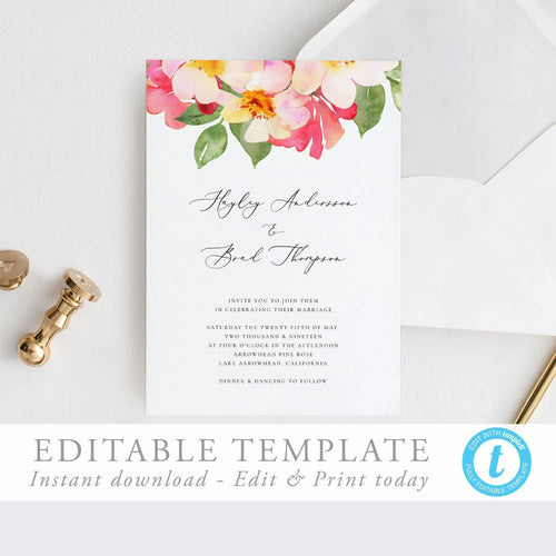 Wedding Invitation Editable Template Floral - Pearly Paper