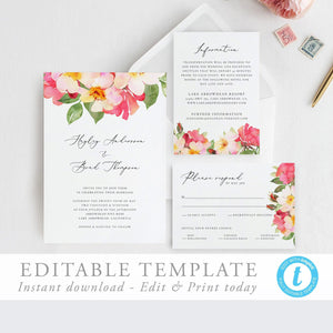 Wedding Invitation Template Printable wedding - Pearly Paper