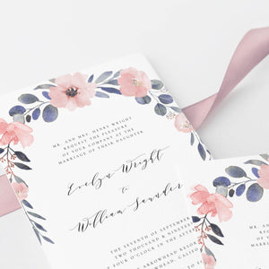 Rustic Wedding Invitation Template Floral - Pearly Paper