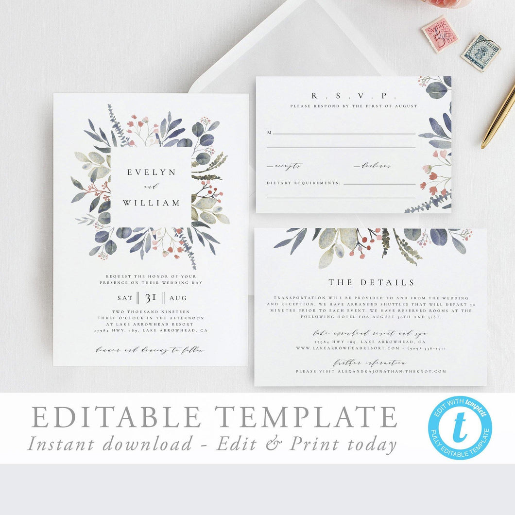 Wedding Invitation Template Boho Wedding - Pearly Paper