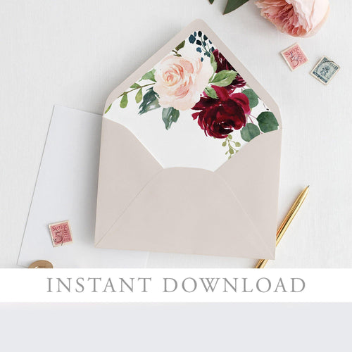 Floral Envelope Liner Burgundy & Blush - Pearly Paper