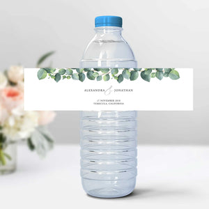 Water Bottle Wrapper Label Eucalyptus - Pearly Paper