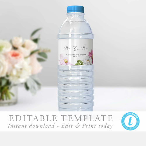 Floral Water Bottle Label - Pearly Paper
