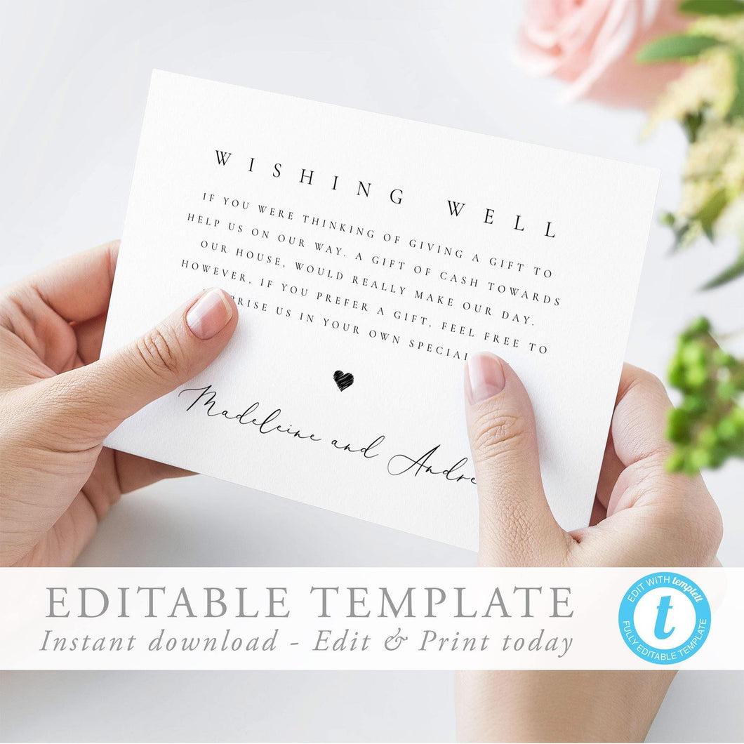 Modern Wishing Well Card Simple - Pearly Paper
