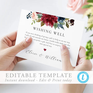 Wishing Well Template Wedding Wishing - Pearly Paper