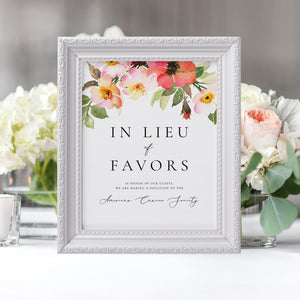 In Lieu of Favors Sign - Pearly Paper