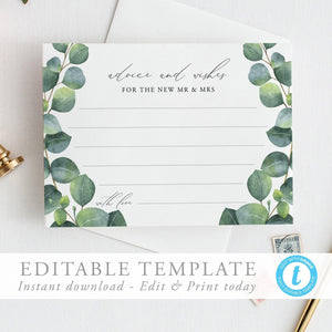 Greenery Wedding Advice card Well - Pearly Paper