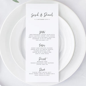 Modern Wedding Menu - Pearly Paper