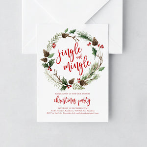Christmas Invitation Template Jingle and - Pearly Paper