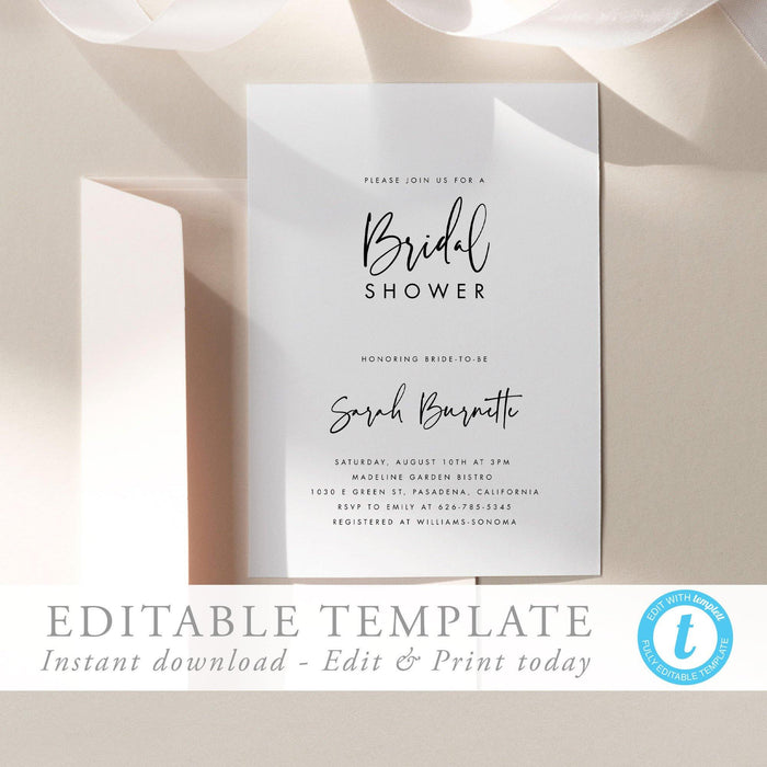 Bridal Shower Invitation Template Simple - Pearly Paper