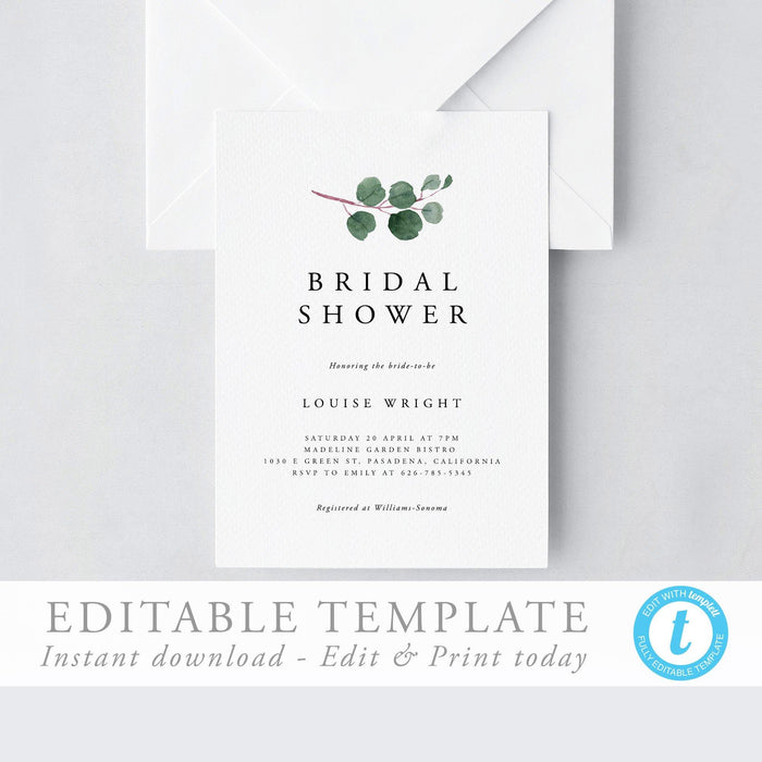 Greenery Bridal Shower Invitation - Pearly Paper