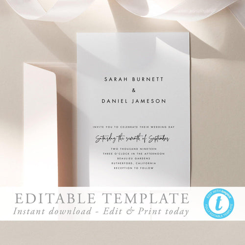 Simple Wedding Invitation Modern Wedding - Pearly Paper