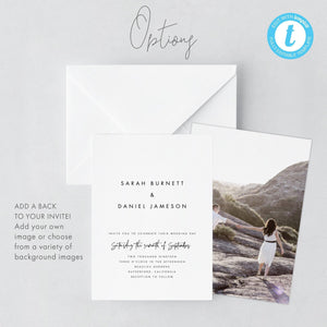 Minimalist Wedding Invitation Template Modern - Pearly Paper