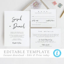 Load image into Gallery viewer, Printable Wedding Invitation Template Modern - Pearly Paper