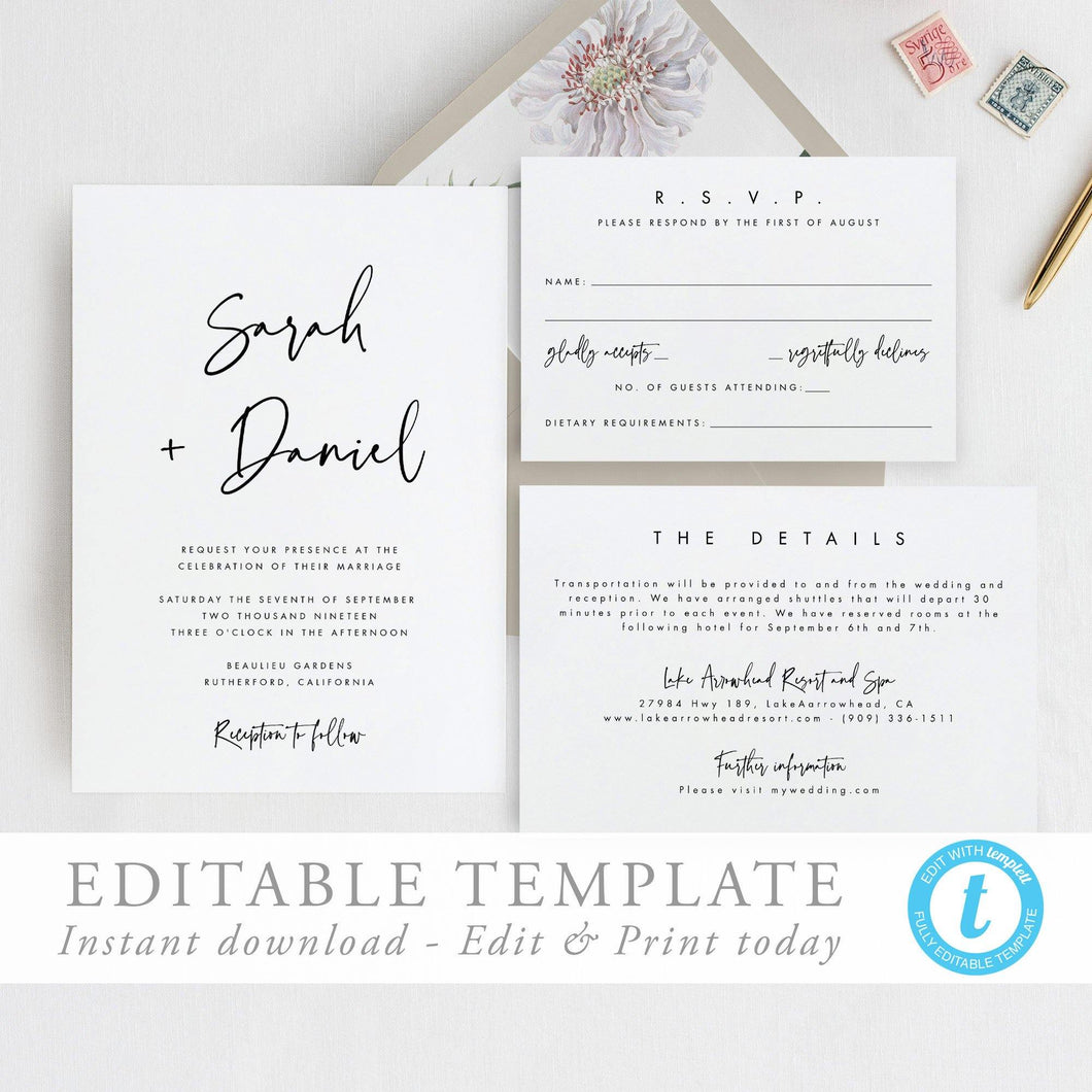 Printable Wedding Invitation Template Modern - Pearly Paper