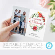 Load image into Gallery viewer, Christmas Card Template with Photo - Pearly Paper