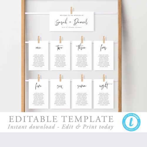Minimalist Seating Chart Cards - Pearly Paper