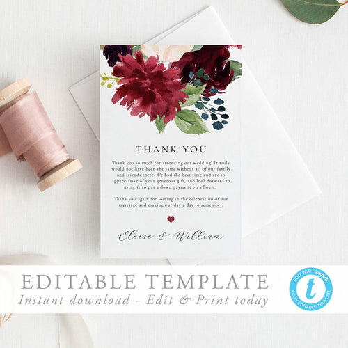 Thank You Card Floral - Pearly Paper