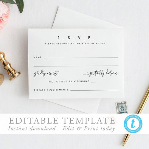 Modern RSVP Card Modern Wedding - Pearly Paper