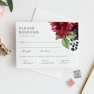 Floral RSVP Card Template Burgundy - Pearly Paper