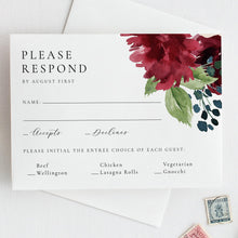Load image into Gallery viewer, Floral RSVP Card Template Burgundy - Pearly Paper