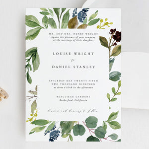 Greenery Wedding Invitation Template Editable - Pearly Paper