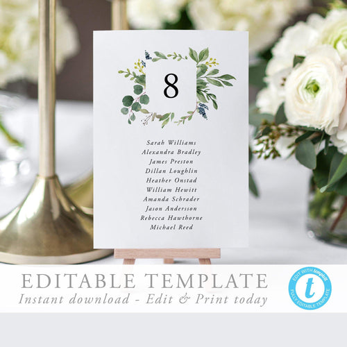 Greenery Table Number Seating Cards - Pearly Paper