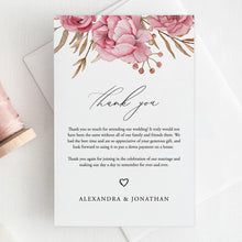 Load image into Gallery viewer, Floral Thank You Card template - Pearly Paper