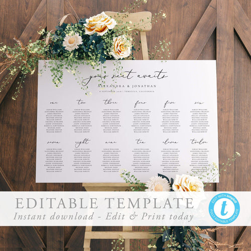 Modern Table seating chart Sign - Pearly Paper