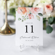 Load image into Gallery viewer, Peach Pink Floral Table Numbers - Pearly Paper