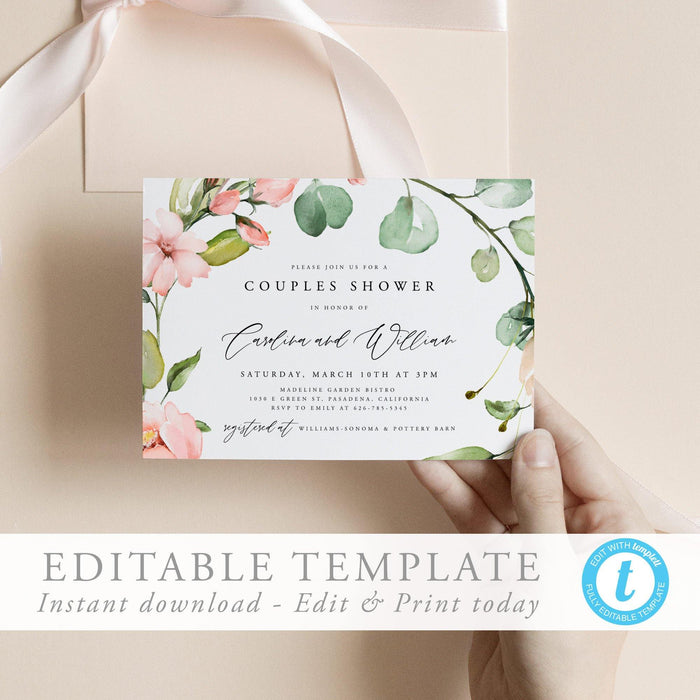 Couples Shower Invitation Floral - Pearly Paper