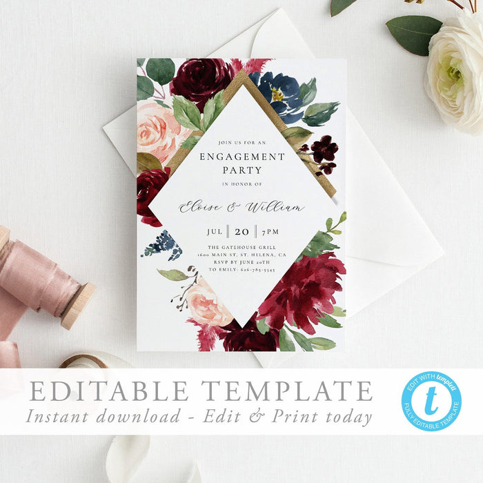 Floral engagement party invitation - Pearly Paper