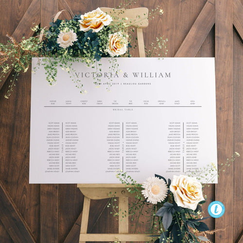 Seating Chart Sign Long Tables - Pearly Paper