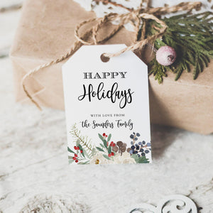 Printable Tag Happy Holidays Tag - Pearly Paper