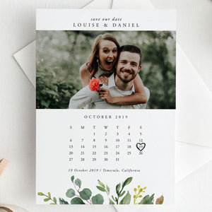 Save the Date Calendar Greenery - Pearly Paper