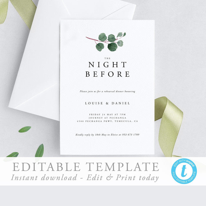 Wedding rehearsal Dinner Invitation - Pearly Paper