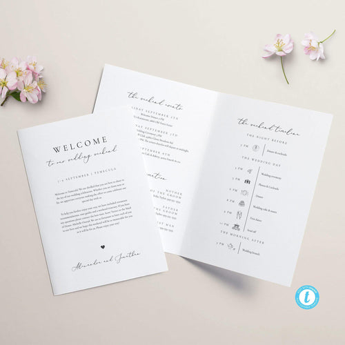 Wedding Weekend Itinerary Booklet - Pearly Paper
