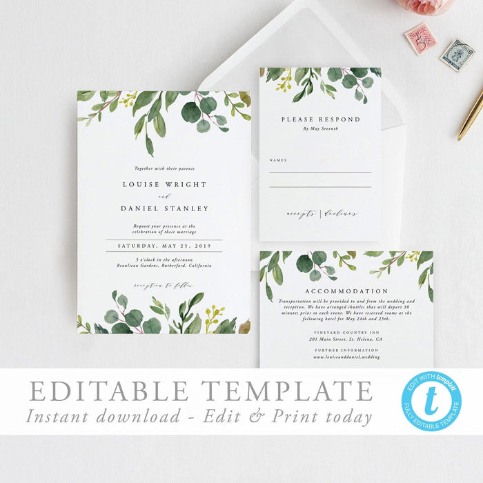 Greenery Wedding Invitation Template Printable - Pearly Paper