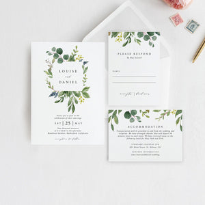 Printable Wedding Invitation Template Editable - Pearly Paper