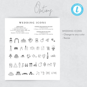 Calligraphy Modern Wedding Day Timeline - Pearly Paper