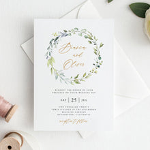 Load image into Gallery viewer, Wreath Wedding Invitation Template download - Pearly Paper
