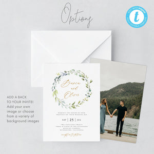 Wreath Wedding Invitation Template download - Pearly Paper