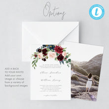 Load image into Gallery viewer, Boho Wedding Invitation Template Burgundy - Pearly Paper