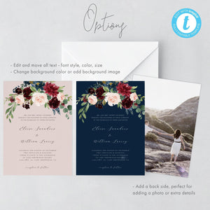 Boho Wedding Invitation Template Burgundy - Pearly Paper